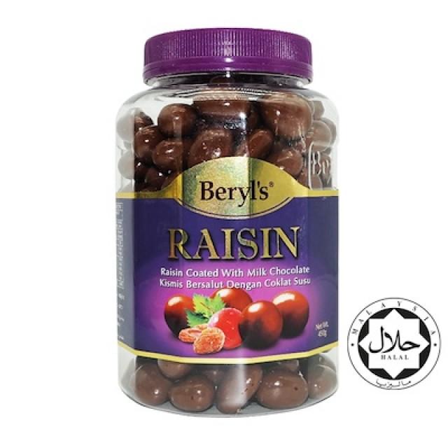 Beryl's Chocolate Nho khô phủ socola sữa 450g