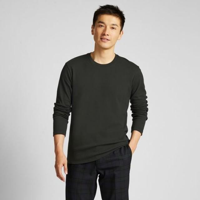 Áo thun nam cổ tròn tay dài Uniqlo Soft Touch màu xanh đen