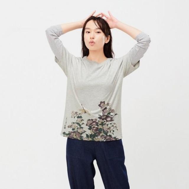 Áo thun nữ cổ tròn Uniqlo EDO UKIYO-E UT Katsushika Hokusai