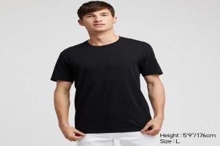 Áo thun nam cổ tròn Uniqlo vải Cotton tay ngắn màu đen