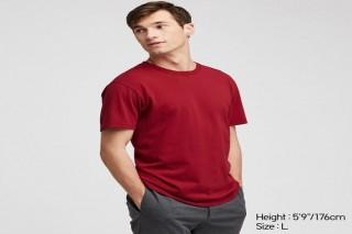 Áo thun nam cổ tròn Uniqlo vải Cotton tay ngắn màu đỏ