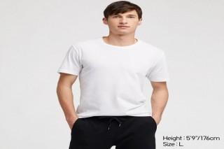 Áo thun nam cổ tròn Uniqlo vải Cotton tay ngắn màu trắng