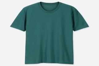Áo thun nam cổ tròn Uniqlo vải Cotton tay ngắn màu xanh lá