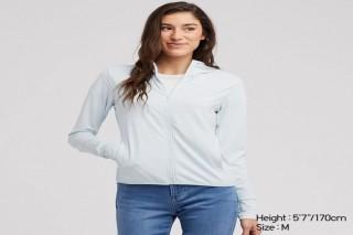 Áo chống nắng thun lạnh UNIQLO nữ - Màu xanh da trời