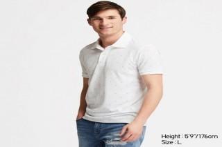 Áo thun polo UNIQLO nam in hoạ tiết - Màu trắng
