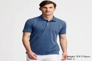 Áo thun polo UNIQLO nam in hoạ tiết - Màu xanh dương