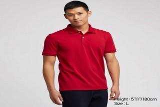 Áo thun polo UNIQLO nam sọc cổ & tay áo - Màu đỏ