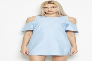 Đầm ngắn tay cách điệu Padini - màu xanh sáng