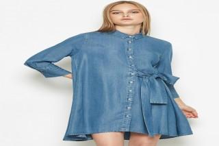 Đầm ngắn tay dài Padini màu xanh denim