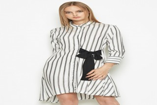 Đầm ngắn tay dài Padini sọc trắng đen