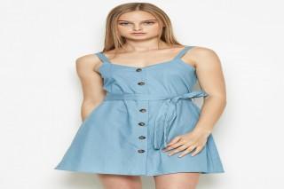 Đầm ngắn 2 dây Padini màu xanh denim