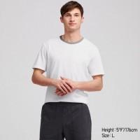 Áo thun Tee Shirt nam cổ tròn có viền Uniqlo màu trắng
