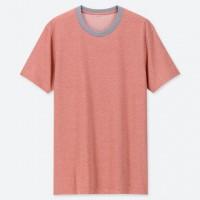 Áo thun Tee Shirt nam cổ tròn có viền Uniqlo màu hồng