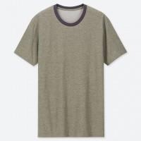Áo thun Tee Shirt nam cổ tròn có viền Uniqlo màu oliu (olive)