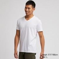Áo thun nam tay ngắn Uniqlo cổ chữ V màu trắng