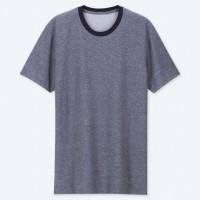 Áo thun Tee Shirt nam cổ tròn có viền Uniqlo màu xanh biển