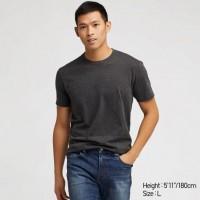 Áo thun T-shirt nam cổ tròn Uniqlo màu xám đậm