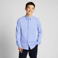 Áo sơmi nam Uniqlo tay dài Easy Care Jersey Slim Fit màu xanh biển