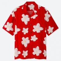 Áo sơmi nam Uniqlo tay ngắn Hawaii Open Collar màu đỏ