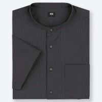 Áo sơmi nam Uniqlo tay ngắn Stand Collar Striped màu đen