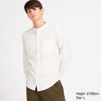 Áo sơmi nam Uniqlo tay dài Soft Twill Stand Collar màu trắng