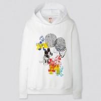 Áo Hoodie nữ cổ tròn Uniqlo chuột Mickey Art UT màu trắng